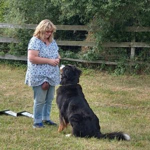 Dame mit Hund